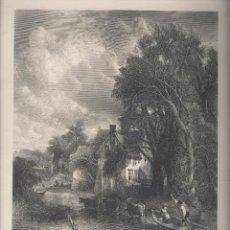 Arte: THE VALLEY FARM. GRABADO INGLÉS, SIGLO XIX, SOBRE PINTURA DE CONSTABLE. . Lote 42810339