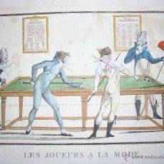 Arte: ANTIGUO GRABADO SATÍRICO LES JOUEURS A LA MODE PARIS DEPEUILLE RUE DES MATHURIS. Lote 42891210