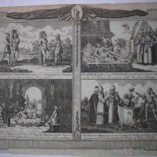 Arte: GRABADOS S.XVIII CUATRO MÉTODOS DE TORTURA UTILIZADOS EN MÁRTIRES. Lote 42908859