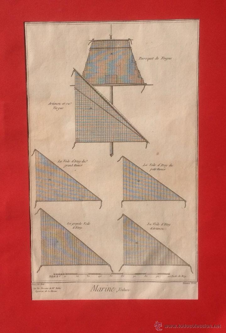 MARINÉ .VOITURE . GRABADO SIGLO XVIII . NAVALES . MARINA . (Arte - Grabados - Antiguos hasta el siglo XVIII)