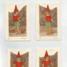 Arte: 4 GRABADOS DE PINOCHO EN ESTUCHE DE MADERA - FIRMADO M. CASTILLO -. Lote 43620017