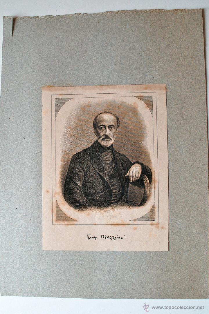 GRABADO ANTIGUO DE MAZZINI (Arte - Grabados - Modernos siglo XIX)
