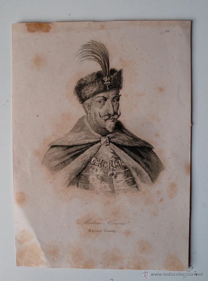 GRABADO ANTIGUO DE MATIAS CORVIN (Arte - Grabados - Modernos siglo XIX)