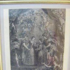 Arte: GRABADO L'ECHANGE DE DEUX REINES, DIBUJO DE RUBENS ESTAMPADO EN PARÍS 1710. Lote 43956274