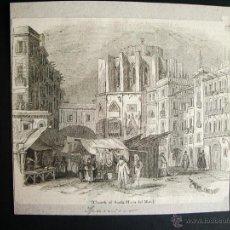 Arte: 1840- IGLESIA DE SANTA MARIA DEL MAR EN BARCELONA. GRABADO ORIGINAL. Lote 44190220