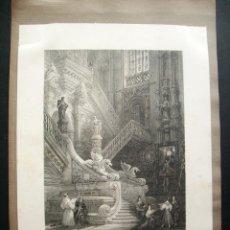 Arte: 1840- INTERIOR CATEDRAL DE BURGOS. GRABADO ORIGINAL. Lote 44190469