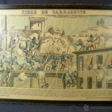 Arte: GRABADO FRANCÉS COLOREADO VISTA DE EPINAL SITIO E ZARAGOZA DE LA FABRIQUE DE PELLERIN SIGLO XIX. Lote 44238162
