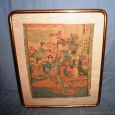 Arte: ANTIGUO GRABADO JAPONES ORIGINAL - SIGLO XVIII - EXCEPCIONAL.. Lote 44403979