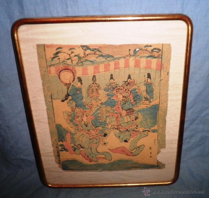ANTIGUO GRABADO JAPONES ORIGINAL - SIGLO XVIII - EXCEPCIONAL. (Arte - Grabados - Antiguos hasta el siglo XVIII)