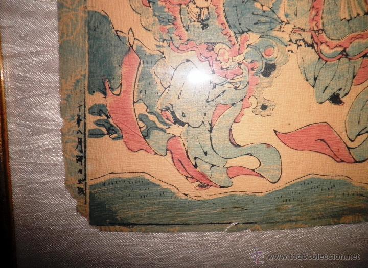 Arte: ANTIGUO GRABADO JAPONES ORIGINAL - SIGLO XVIII - EXCEPCIONAL. - Foto 3 - 44404073