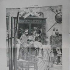 Arte: LA NOVIA EN EL ESTUDIO, DIBUJO DE A. FABRÉS. TDKPR1. Lote 44415753