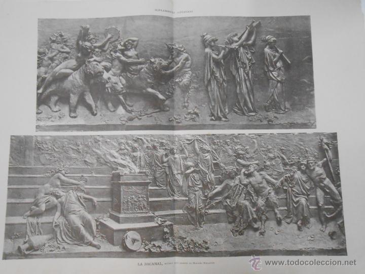 LA BACANAL. NOTABLE BAJO RELIEVE DE MARIANO BENLLIURE. LA ILUSTRACION ARTISTICA. TDKPR1 (Arte - Grabados - Modernos siglo XIX)