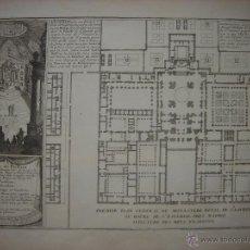Arte: GRABADO ESCORIAL, PLANO PLANTA Y PANTEÓN REAL , MADRID, ORIGINAL, DE FER, 1705, ESPLÉNDIDO ESTADO. Lote 44454727