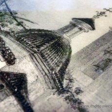 Arte: ANTIGUA CALCOGRAFÍA AL ACERO. EMILE ROUARGE. PARÍS. FUENTE, IGLESIA, CAMPANARIO. VILLA VIEJA.. Lote 44687153