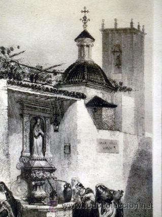 Arte: ANTIGUA CALCOGRAFÍA AL ACERO. EMILE ROUARGE. PARÍS. FUENTE, IGLESIA, CAMPANARIO. VILLA VIEJA. - Foto 7 - 44687153