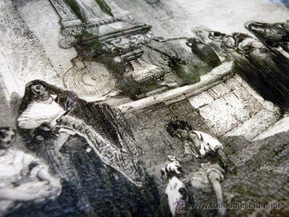 Arte: ANTIGUA CALCOGRAFÍA AL ACERO. EMILE ROUARGE. PARÍS. FUENTE, IGLESIA, CAMPANARIO. VILLA VIEJA. - Foto 8 - 44687153