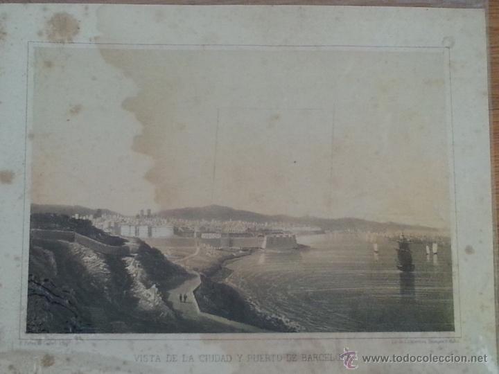 EXCELENTE Y DIFICILISIMO GRABADO DE LA VISTA DE LA CIUDAD Y PUERTO DE BARCELONA. SIN FECHA. S. XIX (Arte - Grabados - Modernos siglo XIX)