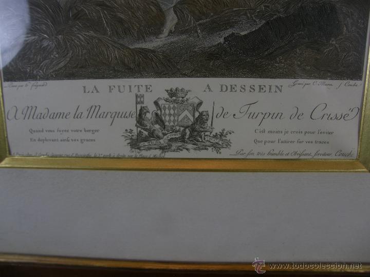 Arte: Grabado a color la fuite a Dessein de principios s. XX según modelo XVIII de original de Fragonard - Foto 3 - 45133046
