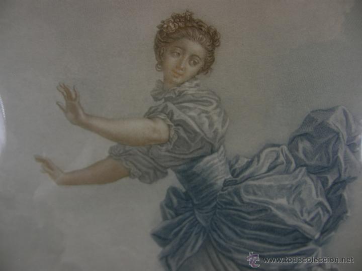 Arte: Grabado a color la fuite a Dessein de principios s. XX según modelo XVIII de original de Fragonard - Foto 4 - 45133046