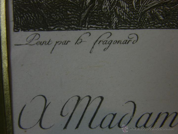 Arte: Grabado a color la fuite a Dessein de principios s. XX según modelo XVIII de original de Fragonard - Foto 5 - 45133046