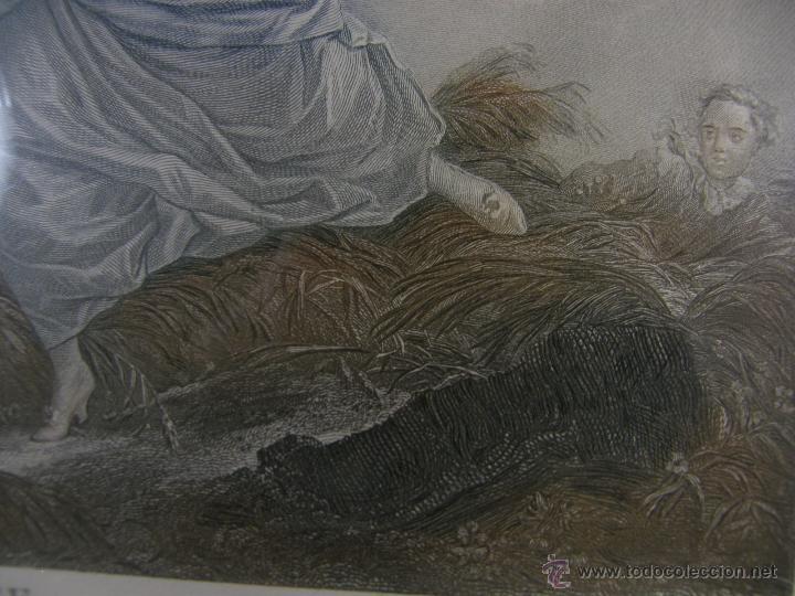 Arte: Grabado a color la fuite a Dessein de principios s. XX según modelo XVIII de original de Fragonard - Foto 6 - 45133046