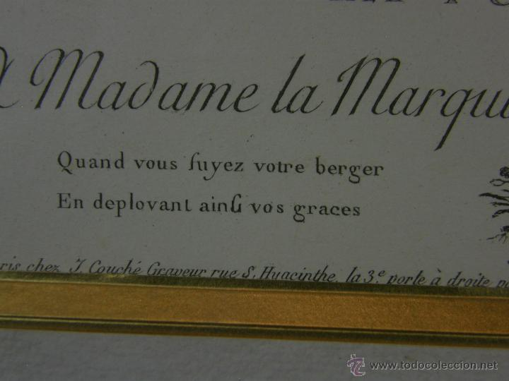 Arte: Grabado a color la fuite a Dessein de principios s. XX según modelo XVIII de original de Fragonard - Foto 9 - 45133046