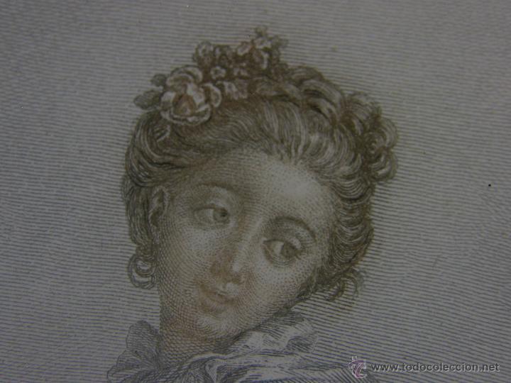 Arte: Grabado a color la fuite a Dessein de principios s. XX según modelo XVIII de original de Fragonard - Foto 15 - 45133046