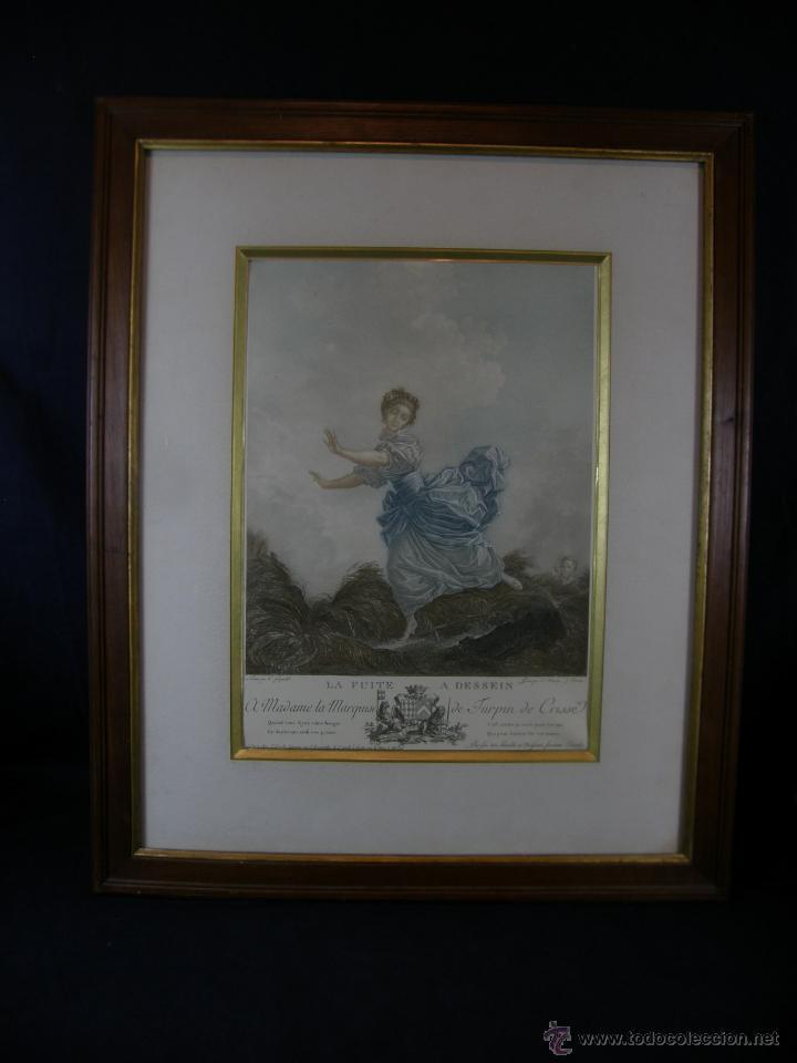 Arte: Grabado a color la fuite a Dessein de principios s. XX según modelo XVIII de original de Fragonard - Foto 20 - 45133046