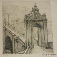 Arte: AGUAFUERTE DE TOLEDO FIRMADO - GRAN TAMAÑO. Lote 45237322