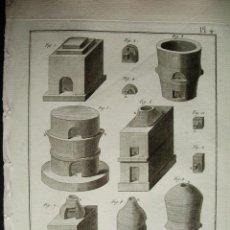 Arte: 1783-GRABADO ESTUFAS-HORNOS DE ALFARERO-CERAMISTA-BERNARD-DE ENCICLOPEDIA DIDEROT-ORIGINAL-23X31 CM. Lote 45387018