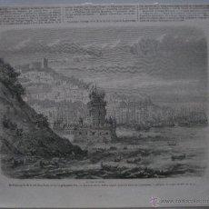 Arte: GRABADO DE LA TORRE DE BELEM, LISBOA, PORTUGAL.1860. Lote 45550003