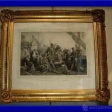 Arte: FANTASTICO GRABADO CON MARCO ANTIGUO DORADO CON ORO FINO. LOS PESCADORES DEL ADRIATICO. FRANCIA 1830. Lote 27975840