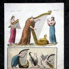 Arte: GRABADO 1840 - EGIPTO - INSTRUMENTOS MUSICALES - COLOREADO A MANO - ILUMINADO. Lote 45968726