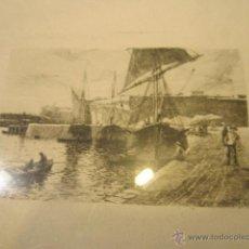 Arte: GRABADO ENMARCADO - PUERTO DE MAR - FIRMADO TC. MANCHA: 11,5 X 7,5 CMS.. Lote 46111029