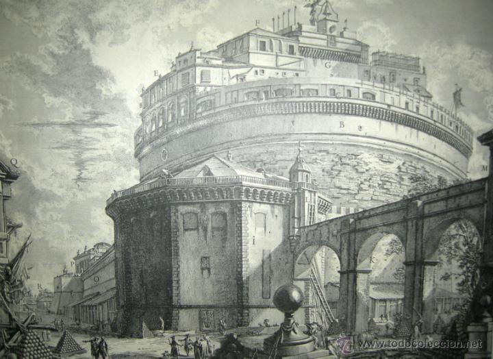 VEDUTA DEL MAUSOLEO D'ELIO ADRIANO- FACSIMIL- PIRANESSI- REPRODUCCIÓN HOLANDESA-AÑOS 30 (Arte - Grabados - Contemporáneos siglo XX)