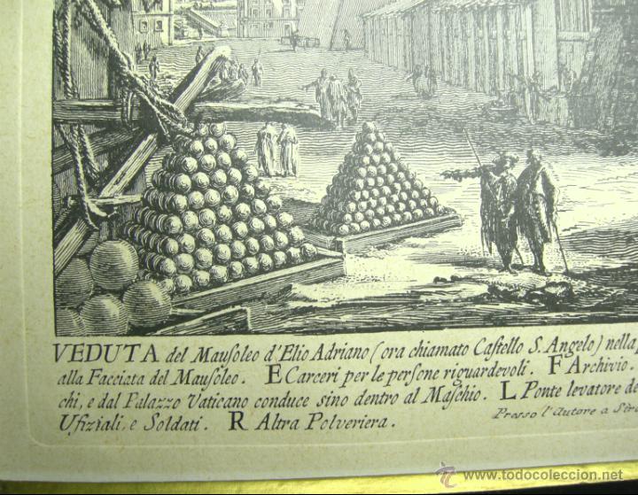 Arte: VEDUTA DEL MAUSOLEO DELIO ADRIANO- FACSIMIL- PIRANESSI- REPRODUCCIÓN HOLANDESA-AÑOS 30 - Foto 3 - 46179155