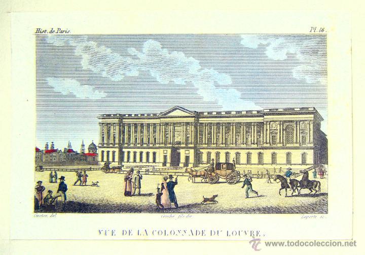 VUE DE LA COLONNADE DU LOUVRE - CA. 1850 - AGUAFUERTE COLOREADO (Arte - Grabados - Modernos siglo XIX)