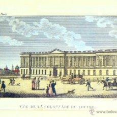 Arte: VUE DE LA COLONNADE DU LOUVRE - CA. 1850 - AGUAFUERTE COLOREADO. Lote 46179884