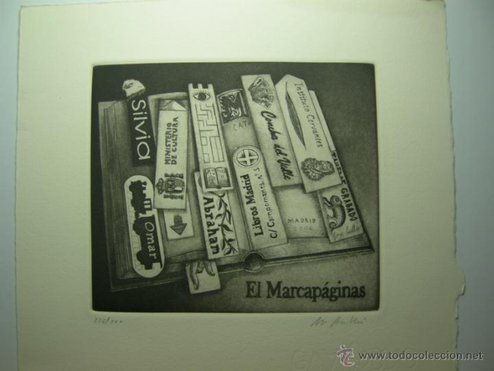 JORGE PERELLÓN-2013- EL MARCAPÁGINAS-AGUAFUERTE Y RESINA (Arte - Grabados - Contemporáneos siglo XX)