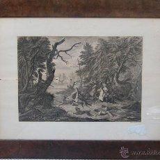 Arte: JOHAN GEORG HERTEL (1700 AUGSBURGO 1775). GRABADO CON REPRESENTACIÓN DE UNA CACERÍA. Lote 46324774