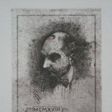 Arte: GRABADO AL COBRE DE JOAQUIM RENART, AUTORRETRATO. 1918. Lote 46354260