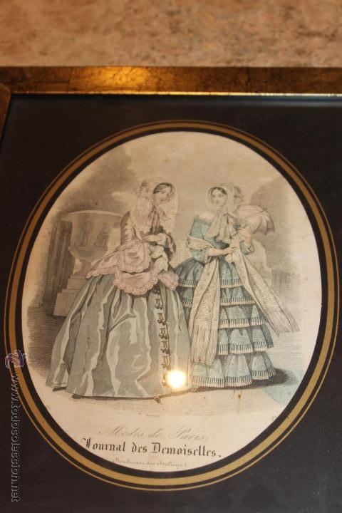 Arte: Lámina o grabado enmarcado de la revista Journal des Demoiselles - Foto 2 - 46491210
