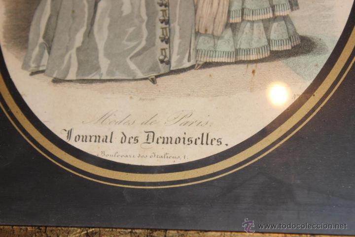 Arte: Lámina o grabado enmarcado de la revista Journal des Demoiselles - Foto 3 - 46491210