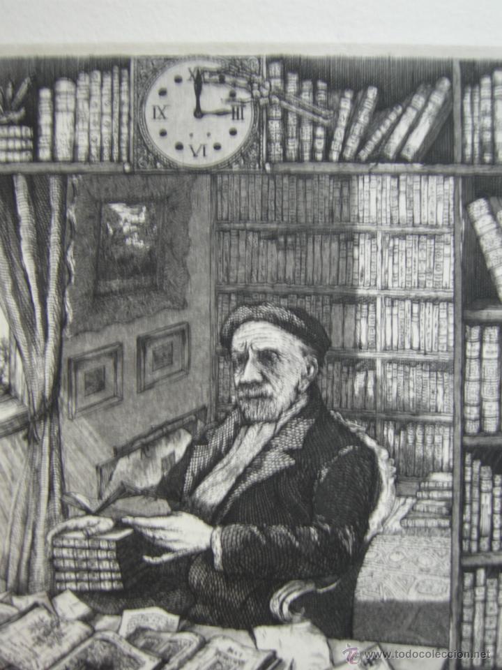 MARTIN OLITE - EL BIBLIÓFILO - AGUAFUERTE - 15,5 X 18,5 CM (Arte - Grabados - Contemporáneos siglo XX)