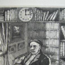 Arte: MARTIN OLITE - EL BIBLIÓFILO - AGUAFUERTE - 15,5 X 18,5 CM. Lote 46573904