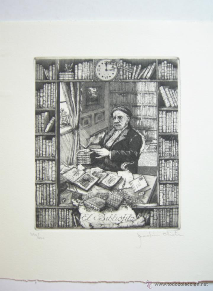 Arte: MARTIN OLITE - EL BIBLIÓFILO - AGUAFUERTE - 15,5 x 18,5 cm - Foto 2 - 46573904