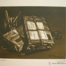 Arte: AGUATINTA RAMIRO UNDABEYTIA - EL REEMBOLSO - 18,5 X 14, 5 CM. Lote 46574013