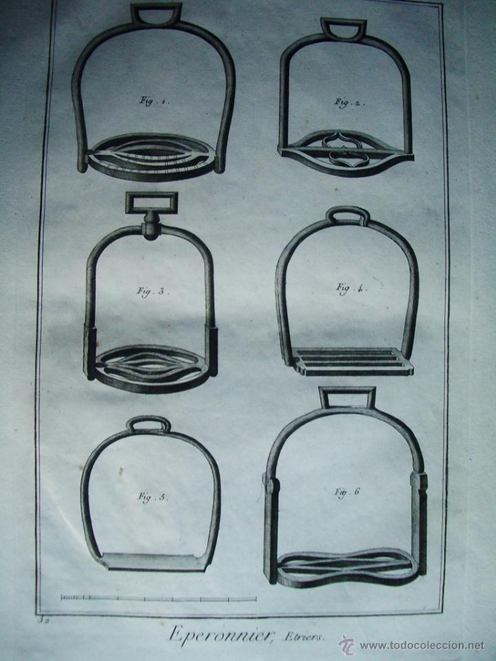Arte: 1773-ESTRIBOS CABALLOS. HIPICA. DIDEROT Y D´ALEMBERT. GRABADO ORIGINAL - Foto 2 - 46697662