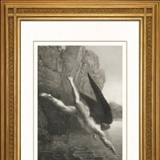 Arte: JOHANN JACOB FLATTERS 1863 ORIGINAL , SATANAS CAE A LAS AGUAS DEL ESTIGIA, EL PARAISO PERDIDO, GRAND. Lote 46893089