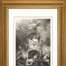 Arte: JOHANN JACOB FLATTERS 1863 ORIGINAL , SATANAS LESIONADO, EL PARAISO PERDIDO, GRANDES MEDIDAS. Lote 46893110